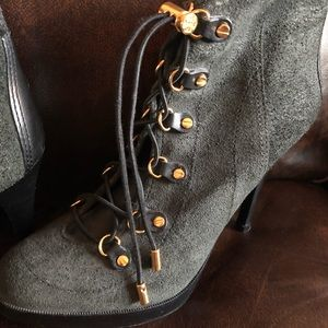 Tory Burch Gray suede with black leather trim